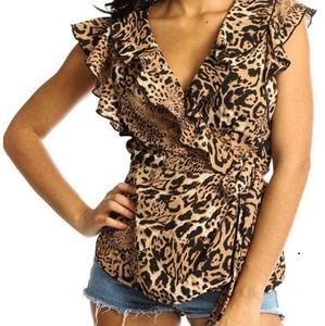 🆕 Leopard Ruffle Wrap Top
